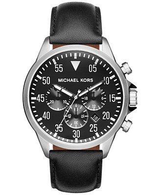 Michael Kors Men's Chronograph Gage Black Leather