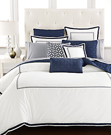 hotel collection embroidered frame bedding collection created for macys - Navy Bedding