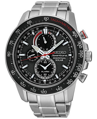 Seiko Men's Solar Chronograph Sportura Stainless Steel SSC357