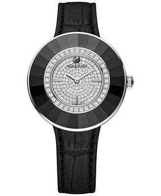 Swarovski Octea Black-Tone Stainless Steel Croc Leather Strap Watch 36mm