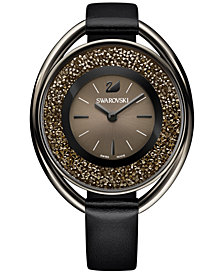 Swarovski Women's Black-Tone Crystalline Leather Strap Watch 43mm