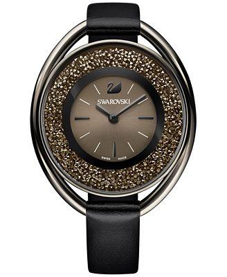 Swarovski Women's Black-Tone Crystalline Fabric Strap Watch 43mm