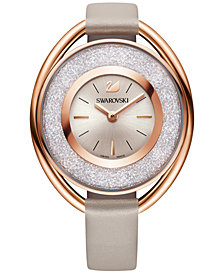 Swarovski Women's Swiss Crystalline Calfskin Leather Strap Watch 37mm