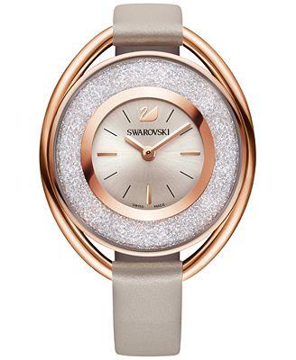 Swarovski Women's Swiss Crystalline Calfskin Leather Strap Watch 37mm