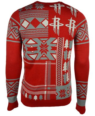 Forever Collectibles Mens Houston Rockets Patches Christmas Sweater