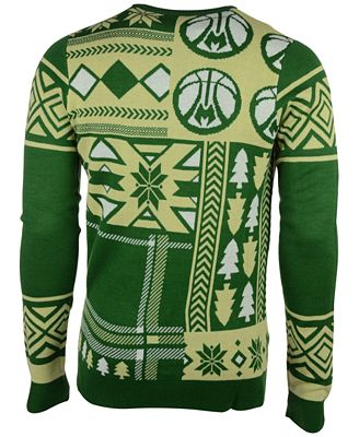 Forever Collectibles Mens Milwaukee Bucks Patches Christmas Sweater
