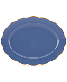 """Marchesa by Lenox Dinnerware Ironstone Shades of Blue 16"""" Oval Platter"""