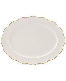 "Marchesa by Lenox Dinnerware Ironstone Shades of White 16"" Oval Platter"