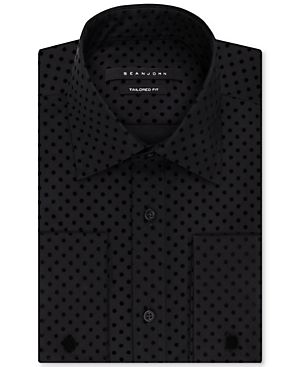 Sean John Classic Fit Black Velvet Patterned French Cuff Dress Shirt