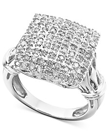 Diamond Square Cluster Ring in 14k White Gold (1 ct. t.w.)