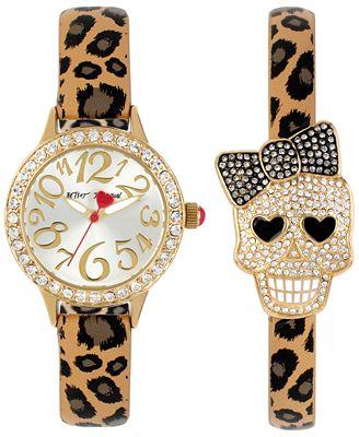 Betsey Johnson Women's Leopard Strap Watch and Bracelet Set 30mm BJ00536-29