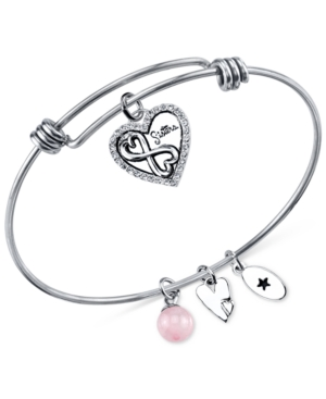 Unwritten Sister Charm and Rose Quartz (8mm) Bangle Bracelet in Stainless Steel