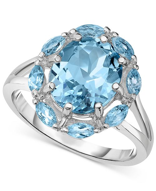 Victoria Townsend Blue Topaz w/ Marquise Border (5 ct. t.w.) Split Shank Ring in Sterling Silver