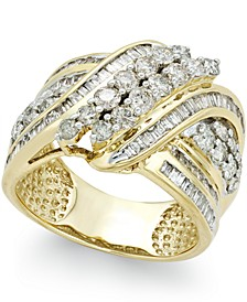 Diamond Double-Row Center Ring (2 ct. t.w.) in 14k Gold , 14K White Gold or 14K Rose Gold
