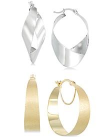 Hoop and Teardrop Hoop Earrings Set in 14k White Gold Vermeil and 14k Gold Vermeil