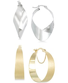 Hoop and Teardrop Hoop Earrings Set in 14k White Gold Vermeil and 14k Gold Vermeil