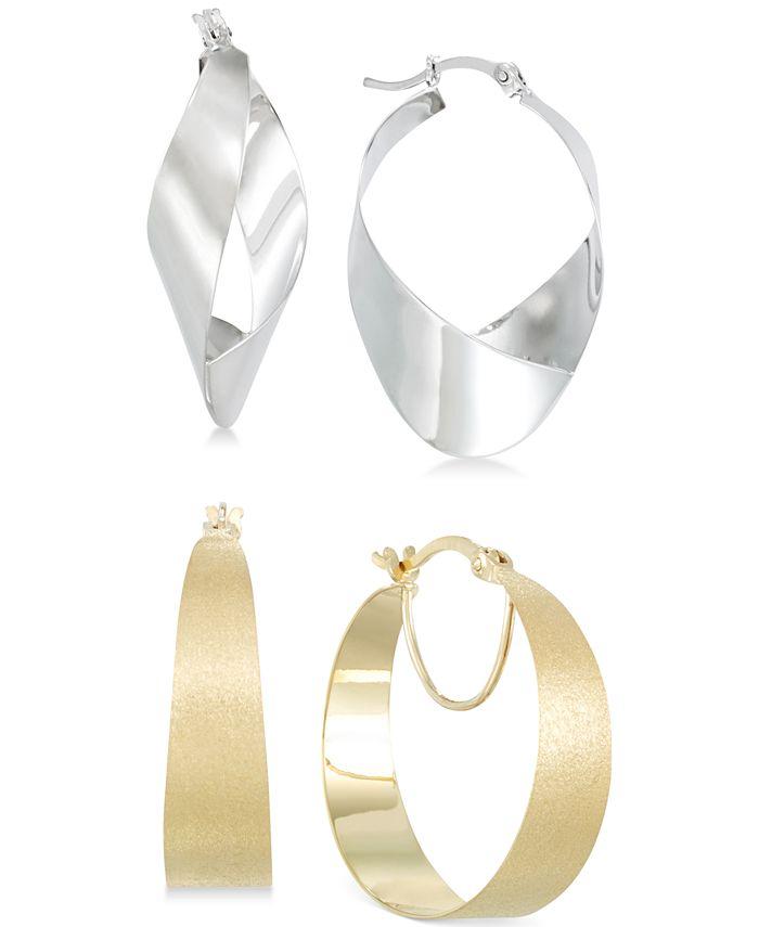 Macy's - Hoop and Teardrop Hoop Earrings Set in 14k White Gold Vermeil and 14k Gold Vermeil