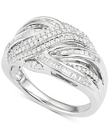 Diamond Crisscross Ring (1/2 ct. t.w.) in Sterling Silver