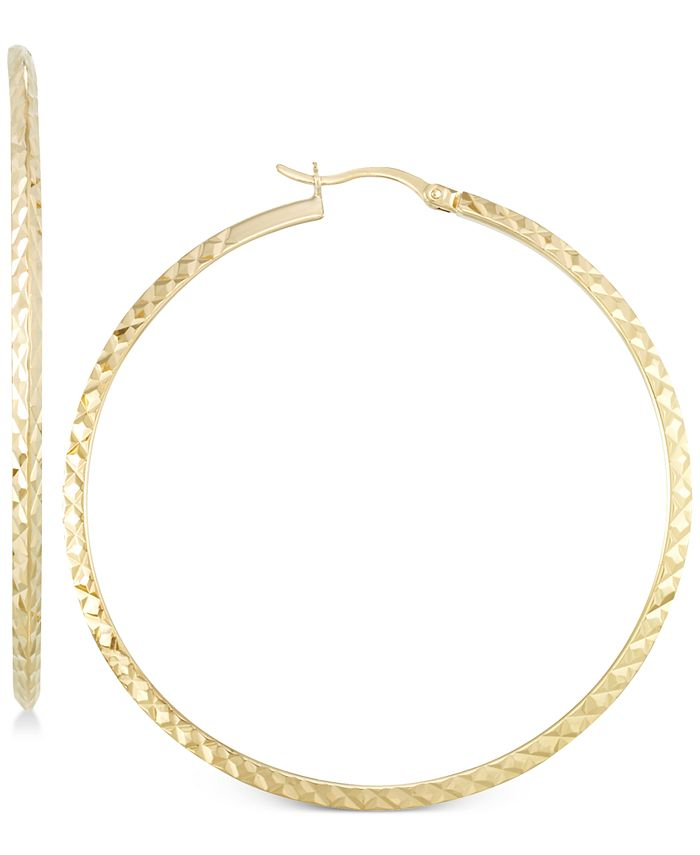 Macy's - Twisted Hoop Earrings in 14k Gold Over Silver or 14K White Gold Over Silver