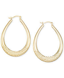 Large Patterned Teardrop Shape Hoop Earrings in 14k Gold Vermeil