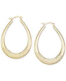 Large Patterned Teardrop Shape Hoop Earrings in 14k Gold Vermeil