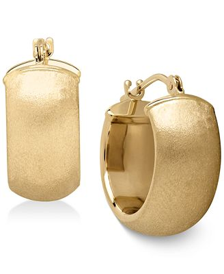 Macy S Satin Huggie Hoop Earrings In 14k Gold Earrings Jewelry