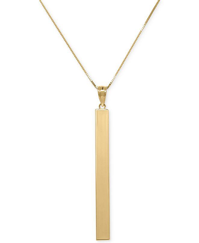 Macy's Square Tube Pendant Necklace in 14k Gold