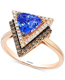 Neo Geo Le Vian Tanzanite (1 ct. t.w.) and Diamond (1/3 ct. t.w.) Geometric Ring in 14k Rose Gold, Created for Macy's