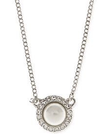 "Givenchy 16"" Silver-Tone Crystal Accented Pearl Necklace"