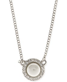 """Givenchy 16"""" Silver-Tone Crystal Accented Pearl Necklace"""