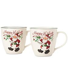 Pfaltzgraff Winterberry Naughty And Nice Porcelain Mug, Set of 2