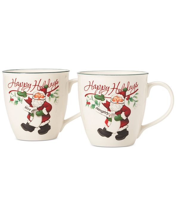 Pfaltzgraff Winterberry Naughty And Nice Porcelain Mug, Set of 2