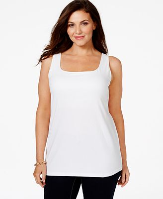 Every woman needs a basic plus size cami or tank top in their wardrobe for layering or throwing together an easy and always classic outfit. At Lane Bryant, we have active tanks and flattering high neck tanks for layering with a plus size cardigan.