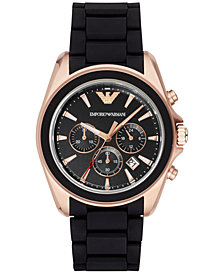 Emporio Armani Men's Chronograph  Black Rubber Strap Watch 44mm AR6066