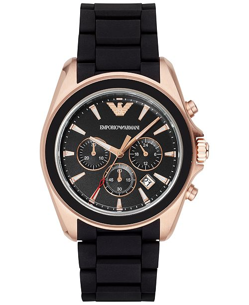 ... Emporio Armani Men s Chronograph Black Rubber Strap Watch 44mm ... c7a19d68c