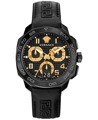 Versace Men's Swiss Black Leather Strap Watch