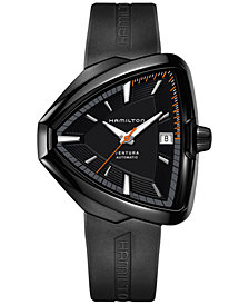 Hamilton Unisex Swiss Automatic Ventura Elvis80 Black Rubber Strap Watch 43x45mm H24585331