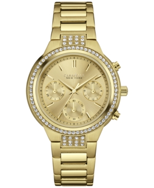 Caravelle New York by Bulova Women's Chronograph Gold-Tone Stainless Steel Bracelet Watch 36mm 44L179