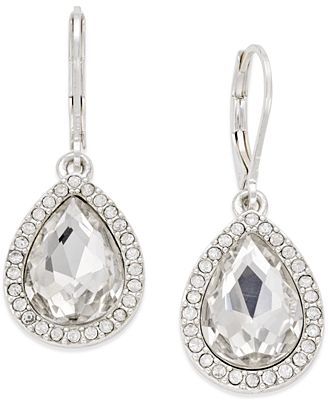 Charter club silver tone clear crystal pear drop earrings for Macy s jewelry clearance