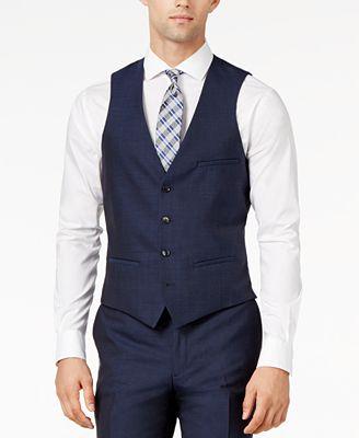 Bar III Midnight Blue Slim-Fit Vest - Suits & Suit Separates - Men ...