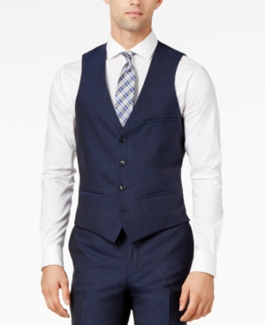 Men's Vintage Inspired Vests Bar Iii Midnight Blue Slim-Fit Vest $69.99 AT vintagedancer.com