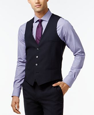Bar III Navy Solid Extra Slim-Fit Vest - Suits & Suit Separates ...