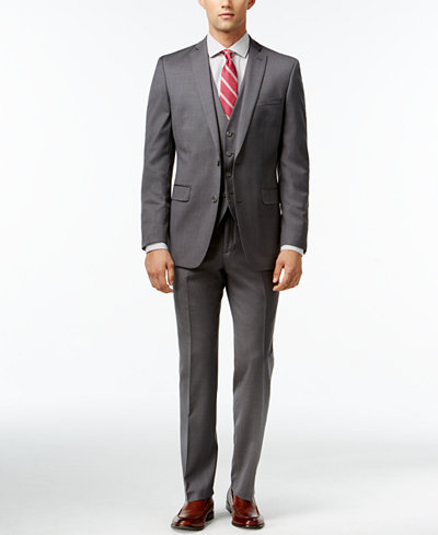 Bar III Mid-Grey Pindot Slim-Fit Suit Separates