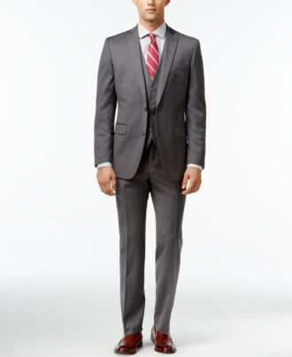 Bar III Mid-Grey Pindot Slim-Fit Suit Separates - Suits & Suit ...