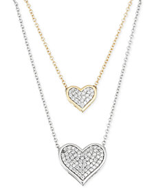 Diamond Double Heart Pendant Necklace (1/4 ct. t.w.) in 10k Yellow and White Gold
