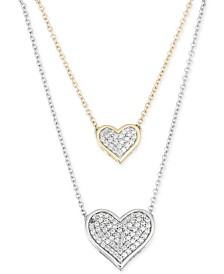 Gold heart necklace shop gold heart necklace macys diamond double heart pendant necklace 14 ct tw in 10k yellow aloadofball Gallery