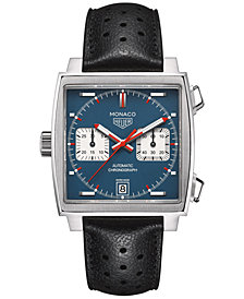TAG Heuer Men's Swiss Automatic Chronograph Monaco Calibre 11 Black Calfskin Leather Strap Watch 39mm