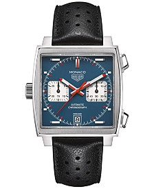 TAG Heuer Men's Swiss Automatic Chronograph Monaco Calibre 11 Black Calfskin Leather Strap Watch 39mm