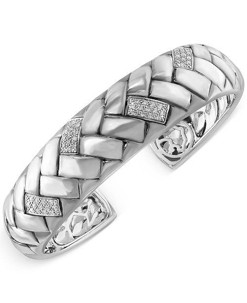 EFFY Collection EFFY® Diamond Bangle Braid Bracelet (1/3 ct. t.w.) in Sterling Silver