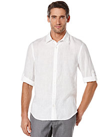 Perry Ellis Men's Long Sleeve Solid Linen Shirt